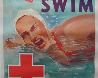 Original 1950s The American National Red Cross Public Service Poster 'Learn to Swim'