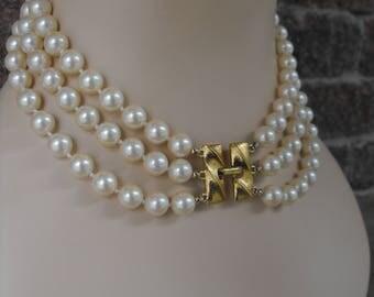 3 Strand Multi Strand Pearl Necklace, Monet, Vintange Pearls, Monet Pearls, Multi Strand Pearl Necklace, Wedding Jewelry, Bridal Jewelry,