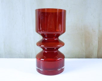 Ruby Red Hooped Vase by Tamara Aladin for Riihimaki, Finland.