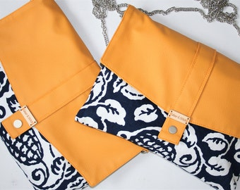 Clearance!!! Mustard and navy clutch/ shoulder/messenger bag
