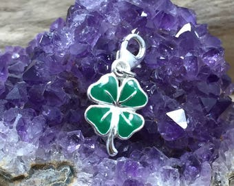 Four Leaf Clover Charm, Sterling Silver Four Leaf Clover, Four Leaf Clover Pendant, Enamel Charm, Sterling Silver Charm, PS42104LC