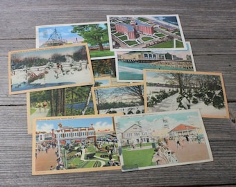 Instant postcard collection...set of 10 vintage postcards of New Jersey from 1930s
