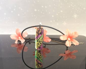 Handmade Fused Dichroic Glass Lily Pendant