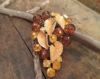 vintage gold tone brown leaf grape style brooch