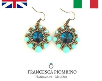 DIY ITA/ENG - Schema fotografico pdf orecchini Diana - Orecchini con rivoli 14mm, rocailles e perle da 4,6,8mm. Beading pattern.