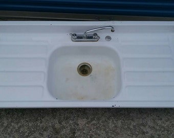 vintage metal white porcelain farm house kitchen sink with double drain basins steel - Porcelain Kitchen Sink