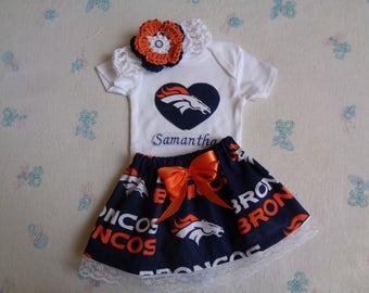 Denver Broncos Personalized Baby Girl Onesie, Skirt and Headband