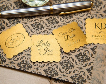 "50 Old Gold Pearlised 1.5 inch Square Shiny Stickers, Envelope Seals. Custom Gold Stickers. 1.5"" Save the date stickers. Invitation Seals."