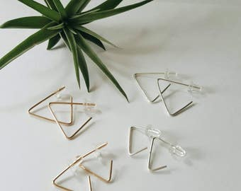 Geometric Triangle Earrings // Gold-filled // Sterling Silver