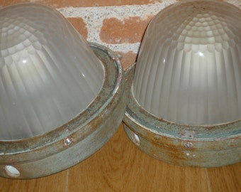 Rare Holophane ! Vintage, 20th century, French Industrial cast iron wall Exterior Light lamp with glass globe holophane lighting 2 available