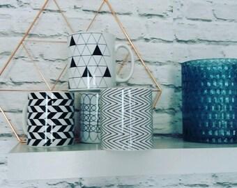 Geometric monochrome mugs