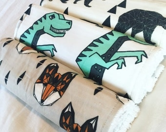 DINOS, BEARS, and FOXES- designer, cotton chenille burp cloth, modern burp cloth, baby shower gift