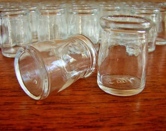 1940's Miniature Glass Restaurant Creamers, Clear Glass, Individual Serving Creamers, Bottom Marked 'B', Vintage Refillable Creamers