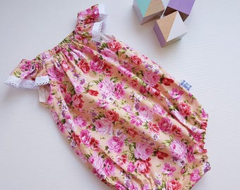 Gift for baby, baby girl romper, floral romper, size 0000 romper, summer romper, tadah seaside