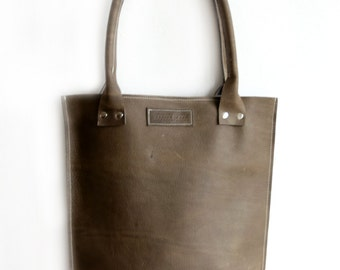 Gray Sturdy Leather Shopper not only for Men, Olive Waxed Leather Tote Bag, Robust Olive Leather Tote, Double Handles Shopper