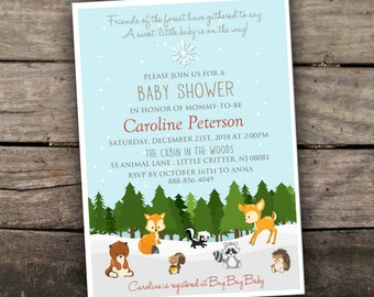 Printed or Digital Woodland Baby Shower Invitation Winter Baby Shower Invitation Christmas Baby Shower Holiday Baby Shower Invitation