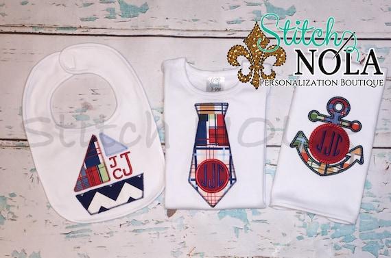 Nautical/Sailboat Bib and Burp Cloth Set, Nautical Gift Set, Summer Gift Set, Sailboat Set, Anchor Applique, Sailboat Applique