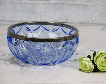 Beautiful Heavenly Blue Etched Glass Bowl Dish Centerpiece silver colored Rim