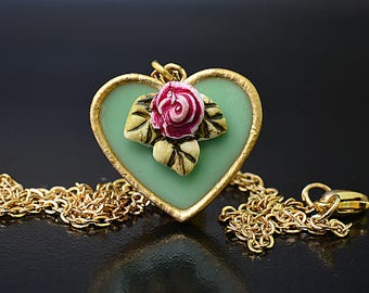 Turqouise heart necklac, turqouise necklace, heart pendant necklace, romantic necklace,love necklace. rose necklace, shabby chic jewelry