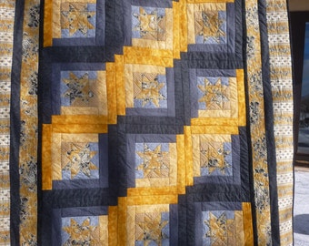 Gold Toille Star Twin Quilt - FREE SHIPPING