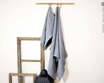 Linen dusty blue bath towel- Waffle textured linen towel- Softened linen travel towel- beach towel