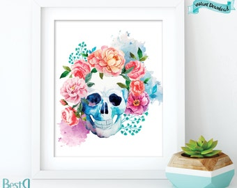 Watercolor flowers skull art wall poster/Instant Download/watercolor wall decor digital print/wall art skull flowers poster/home wall decor