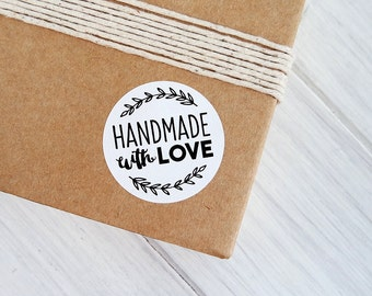 24 Handmade With Love Stickers Labels Rustic Envelope Seals 40mm / White Textured Stickers / 264