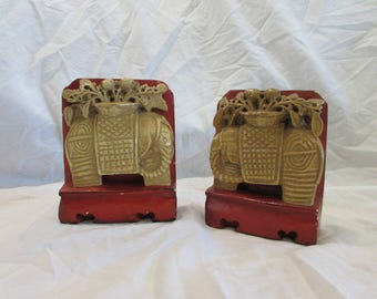 Bookend Pair, Elephants, Asian Styling, Carved Ceramic and Steel, Rich Mustard and Red Earth, Vintage, 1960's