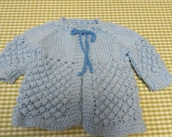 Vintage Blue Knitted Baby Sweater Popcorn Stitch 3-6 Month