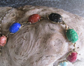 Scarab Beetle Multi Colored Stone Necklace