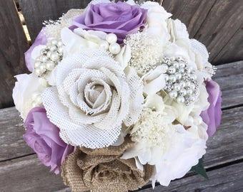 Rustic Bouquet, Rustic Lavender Bouquet, Bridal Bouquet, Bridesmaids Bouquets