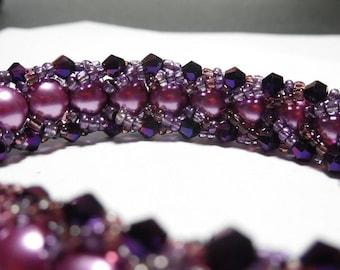 Purple  Pearl and Crystal Caterpillar Bracelet