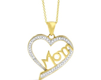 0.25 Ct. Natural Diamond Mom in Heart Love Pendant in Solid 10k Yellow Gold