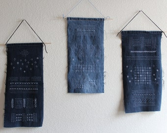Recycle / Reuse / Old Jeans / Wall hanging / Sashiko stitches / Simple / Tapestry / Wall art