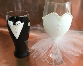 Bride and Groom Wine and Beer Glasses, Hand Painted Bridal Glasses, Wedding Party Wine and Beer Glasses, Bachelorette Party Glasses