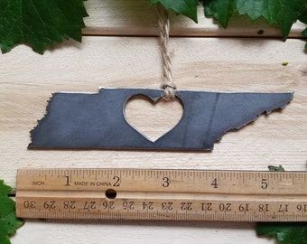 Tennessee Love rustic raw steel Christmas Ornament TN Metal State Heart Personalize Christmas Tree Holiday Gift Wedding Favor