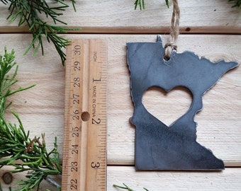 Love Minnesota State Steel Ornament Rustic MN Metal State Heart Host Gift Keepsake Travel Wedding Favor By BE Creations