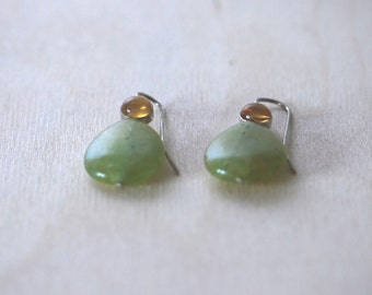 Hanging earring with Citrine and prehnite