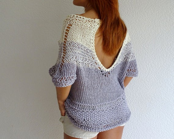 SALE knit sweater knit top off shoulder sweater open back