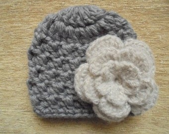Baby girl hat Crochet baby hat Wool baby hat Baby girl winter hat Newborn girl hat Gray baby hat Newborn crochet hat Baby girl beanie