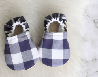 Baby Shoe, Baby Boy Shoes, Baby Girl Shoes, Baby Booties, Plaid Baby Clothes, Soft Sole Shoes, Baby Moccasins, blue baby shoes, blue booties