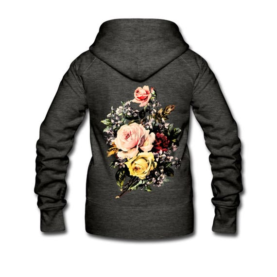 Womens Zip Up Hoodie Jacket With Vintage Rose Bouquet Back Print. Grey Or Black. Sizes S-XL