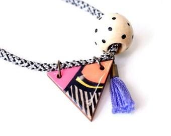 Triangle necklace - Geometric statement jewelry - Little girl necklace - Wood triangle - Little girl gifts - Geometric necklace