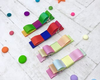 Baby toddler hair clips, pastel and bright rainbows, ribbon lined hair clips with tuxedo bow, non-slip hair clips, ROYGBIV, kids hair clips