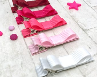 Pink collection, baby toddler hair clip, pink mix, in the pink, ribbon lined hair clips with tuxedo bow, non-slip hair clips, alligator clip