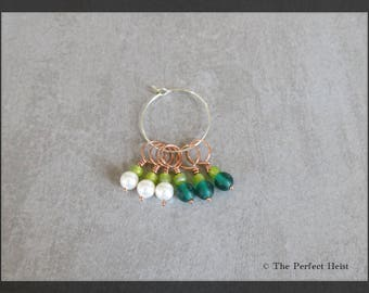 Stitch Markers, Copper, Green, Pearls, Knitting