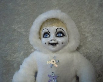 Creepy Snow Baby Doll #48 Creepy Cute, doll stand not included