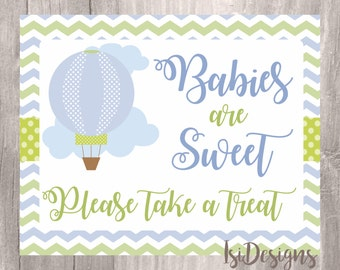 Printable Baby Shower Sign, Babies Are Sweet, Blue Hot Air Balloon Candy  Bar Sign