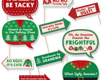 Funny Ugly Sweater Photo Booth Props - Christmas Party Photo Booth Prop Kit - 10 Photo Props & Dowels
