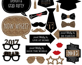 Gold Graduation Party Photobooth Kit - 2017 Graduation Photo Booth Props with Custom Talk Bubble - Graduation Party 20 Piece Set